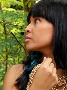 Atriz Danielle Soprano, personagem sobrevivente do Xingu