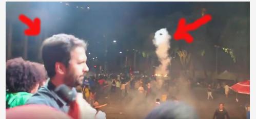 Cinegrafista filma momento em que PM atira bomba em deputado durante ato no Rio